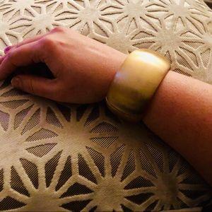 Brushed Gold Cuff w/ Spring Closure Bangle